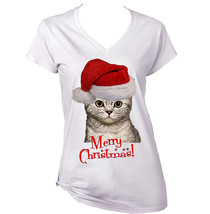 Merry Christmas Santa Cat 3   New White Cotton Lady Tshirt - $21.88