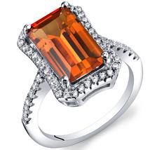 Women's Sterling Silver Emerald Cut Padparascha Orange Sapphire Halo Ring - $136.66 CAD+