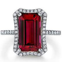 Women's Sterling Silver Vintage Ruby Halo Ring - $162.40 CAD