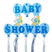 """Baby Boy Shower Hanging Foam Blue Decoration baby storks 22"""" tall 30"""" wide - $19.75"""