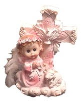 """Christening - Baby Girl Angel Cross with Flower Halo and Cross 5"""" tall - $4.90"""