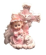 "Christening - Baby Girl Angel Cross with Flower Halo and Cross 5"" tall - $4.90"