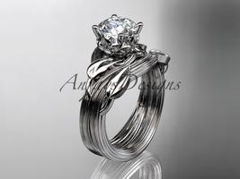 Platinum  diamond engagement set with a Moissanite center stone ADLR240S - $1,850.00