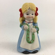 House Of Lloyd Bell Garland Girl Hand Bell Bisque Porcelain 1981 - $12.19