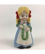 House Of Lloyd Bell Garland Girl Hand Bell Bisque Porcelain 1981 - $12.19