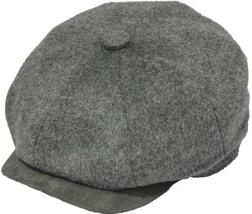 Henschel Wool Blend Newsboy Cap Lined Suede VIsor Closed Back Brown Gray Black - $49.00