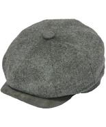 Henschel Wool Blend Newsboy Cap Lined Suede VIsor Closed Back Brown Gray... - $49.00