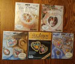 Lot of 5 Bucilla New Ribbon Embroidery Kits Including Pins, Frame and Gi... - $19.79