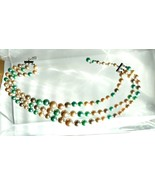 Vintage Jewelry Necklace Bead Choker Tri-Strand & Earrings Pastel Green ... - $39.99