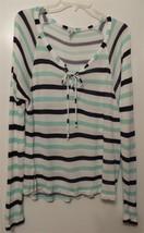 Anthropologie SPLENDID Hi-Lo Hem Striped Silky Knit Top / Sweater Size L - $24.99