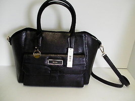 DKNY sahtchel handbag black lizard print leather with pocket beautiful new  - $188.05