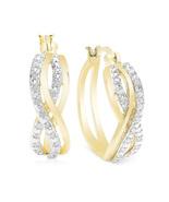 Diamond 1/4 ct Woven Hoop Earrings in 18K Tone - $95.00
