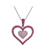 Pink Crystal Double Heart Pendant Necklace - $68.00