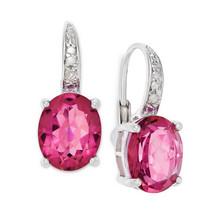 Pink Oval Quartz Diamond Earrings - $95.00
