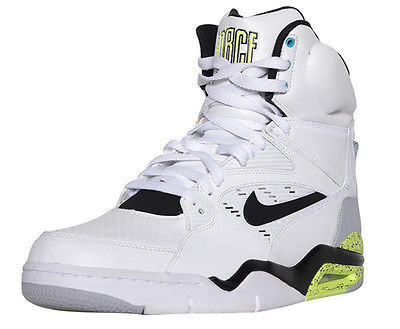 Primary image for NIKE AIR COMMAND FORCE MEN'S WHITE/BLACK/VOLT LEATHER SHOES, #684715-100 $200