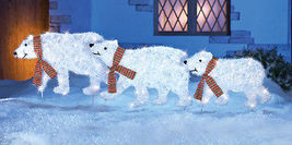 3 Piece Polar Bear Display Outdoor Lighted Christmas Holiday Yard Decora... - $64.32