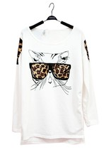 100% Cotton Cat Wearing Glasses Print Long Sleeve Casual Blouse WhiteT-s... - $18.80