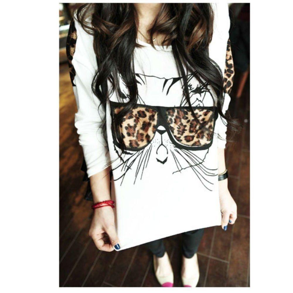 100% Cotton Cat Wearing Glasses Print Long Sleeve Casual Blouse WhiteT-shirt Xl