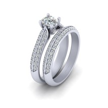 0.50ct Moissanite Bridal Wedding Ring Set In Solid 10k White Gold Promise Rings - $1,349.99