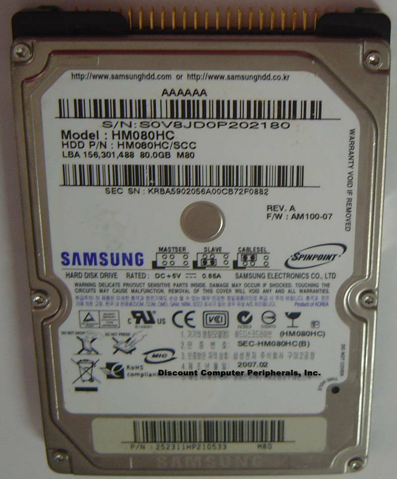 """80GB 2.5"""" 9.5MM IDE 44PIN Drive Samsung HM080HC Free USA Ship Our Drives Work"""