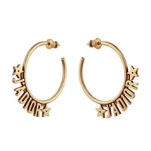 AUTHENTIC Christian Dior 2019 J'ADIOR Star Hoop Earrings Aged Gold