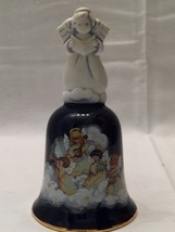 "Avon Porcelain Christmas Bell ""Heavenly Notes"" Blue with Angels 1992 Vintage - $18.72"