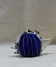 Vintage Glass Angel fish Paperweight/Figurine //Blue & White Stripped Angel Fish - $10.00