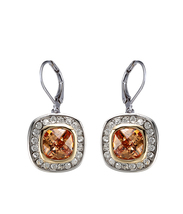CLASSIC 18kt White Gold EP Brown Topaz CZ Crystal Petite Dangle Earrings - $18.99