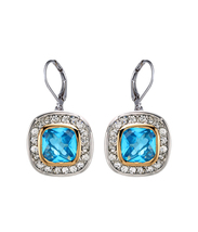 CLASSIC 18kt White Gold EP Blue Topaz CZ Crystal Petite Dangle Earrings - $18.99