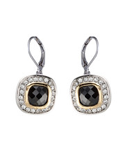 CLASSIC 18kt White Gold EP Black Onyx CZ Crystal Petite Dangle Earrings - $18.99
