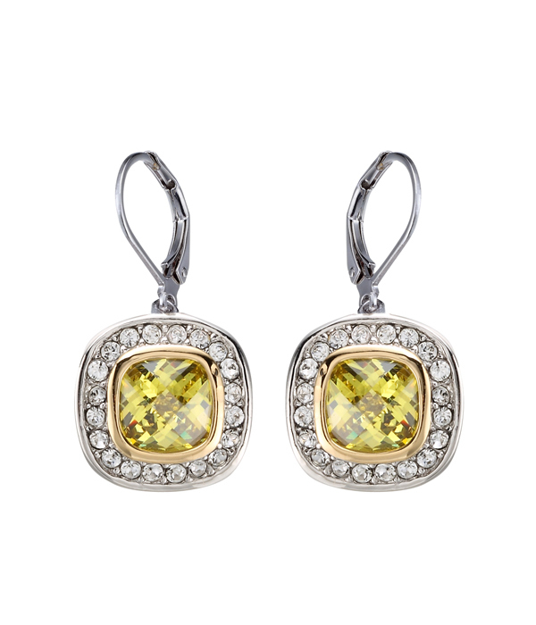 Primary image for CLASSIC 18kt White Gold EP Peridot Green CZ Crystal Petite Dangle Earrings