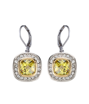CLASSIC 18kt White Gold EP Peridot Green CZ Crystal Petite Dangle Earrings - $18.99