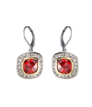 CLASSIC 18kt White Gold EP Garnet Red CZ Crystal Petite Dangle Earrings - $18.99