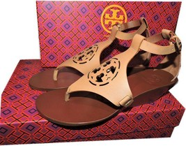 Tory Burch ZOEY Sandal Cut Out Leather Logo Shoe Wedge Ankle Strap Shoe ... - $179.00