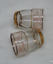 Two Vintage Mid Centruy Retro Shot Glasses // Pink & Gold Miniature Glasses - $6.00