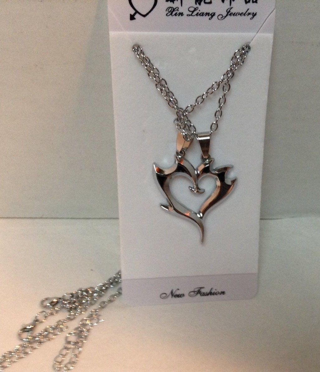 Two Hearts Necklace NEW Chain Black Accents Silver Tone