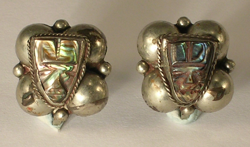 Primary image for Made in Mexico Unknown Silver with Abalone Masks Screw Back Earrings