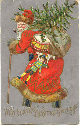 Primary image for Old World Santa Toting The Christmas Tree Vintage Post Card