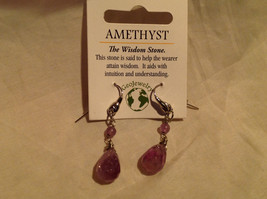 Amethyst Silver Tone Drop Earrings Hook Back Plastic Piece to Keep in Place