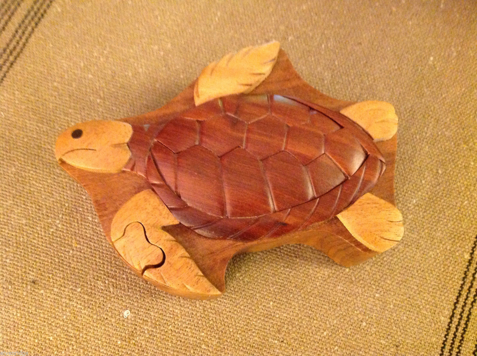 Hand carved wood puzzle box cute sea  turtle
