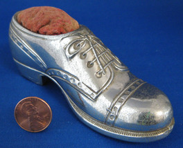 Pincushion Oxford Shoe Silver Plate Sewing Figural Figural Brogue 1930s Sewing  - $20.00