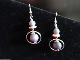 Vintage 1980's Wooden Triple Bead Silver Tone Hook Dangle Earrings - $11.05