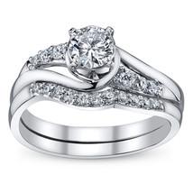 Round Cut CZ 14k White GP 925 Silver Women's Bridal Engagement Wedding Ring Set - $88.99