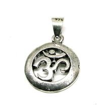 Lord Shiva Symbol OM Embossed God 925 Sterling Silver Pendant - ET - $17.10