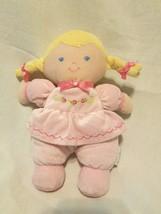 Prestige Baby Girl Doll Pink Dress Rose Flower Braids Blonde Plush Soft Toy - $24.73