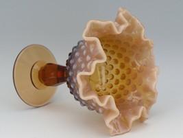 Vinatge Fenton Art Glass Cameo Opalescent Hobnail Footed Comport image 2