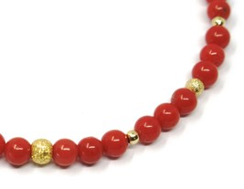 18K YELLOW GOLD BRACELET, RED CORAL SPHERES 4/4.5mm, ALTERNATE GOLD BALLS image 2