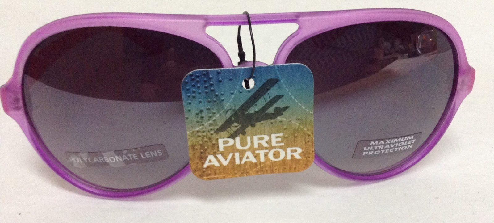 Primary image for Pure Aviator Purple & Pink Frame Sunglasses NWT Max Ultraviolet Protection