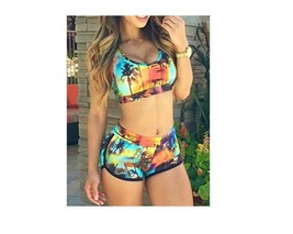 Women Bikini Summer Tropical Prints Bikini Waist Swim Sets Tankini Swimsuit  - $21.99