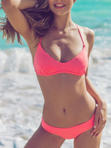 Women Bikini Tankini Style Summer Spaghetti Strap Camis Top with Bottom Red - $21.99
